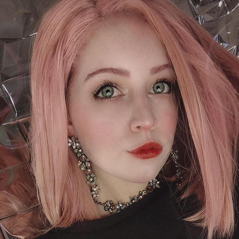 Peach Pink Bob Synthetic Lace Front Wig HS4005